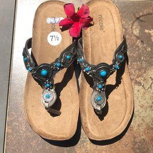 💞 NWT Nicole Turquoise & Pewter BoHo Sandals
